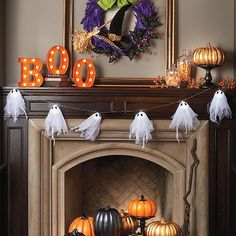 String up this row of  ghosts, and set the tone for a spooktacular display. The ghouls in our Ghost Light Strand are lit from within,    and have haunting black eyes. Their soft glow serves as moody illumination on a mantel, over a doorway, or along a railing. After all, ghosts like to slide    down banisters, too.            Strand of 6 illuminated gauzy ghosts                5-foot cord with one ghost every 10 or so                Each ghost is made up of an lighted globe covered in two...