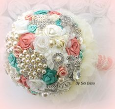Brooch Bouquet Bridal Bouquet Fabric Bouquet in Ivory, Coral and Tiffany Blue or Mermaid with Lace and Pearls