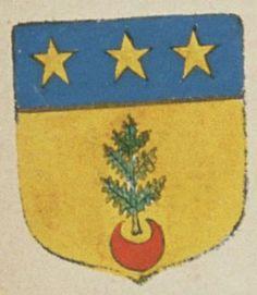 Charles BOITAULT, sieur des Jonchères. Porte : d'or, à une tige de fougère de sinople, soutenue d'un croissant de gueules, et un chef d'azur, chargé de trois étoiles d'or   N° 316