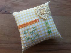 Yellow Heart Gingham Tooth Fairy Pillow