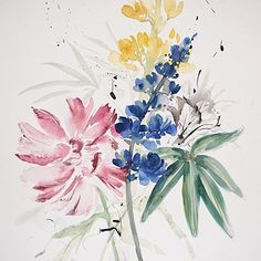 Inspired by vintage botanical paintings. This piece was created with watercolour on a large sheet of paper, black ink details were added with a calligraphy pen and nib and also splattered on with a paintbrush to make it look like old creeping vines. #vintagepainting #botanicals #art #flower #flowerpainting #watercolor #watercolorflowers #watercolorart #flowerart #paint #botanicalwatercolor