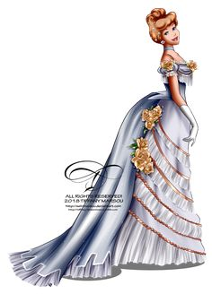 Vintage Ballgown - Cinderella by tiffanymarsou on DeviantArt Disney Artwork, Disney Fan Art, Disney Girls, Disney Drawings, Disney Love, Disney Magic, Disney Princess Fashion, Disney Princess Pictures, Disney Princess Art