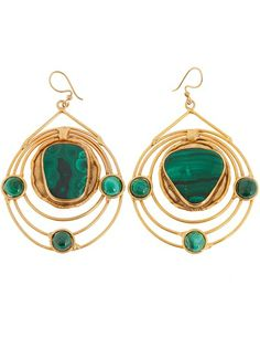 Gold plated brass earrings from Sylvia Toledano featuring a spherical design with a large green malachite stone, three smaller green malachite stones and a hook fastening for pierced ears.