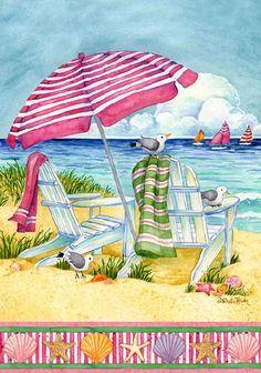 Seaside Welcome Garden Flag 12 x 18 Coastal Umbrella Beach Chairs 790876330195 Art Plage, Beach Flags, I Love The Beach, Nice Beach, Mary Engelbreit, Am Meer, Beach Scenes, Beach Chairs, Beach Cottages