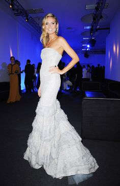 Heidi Klum white and crystal gown