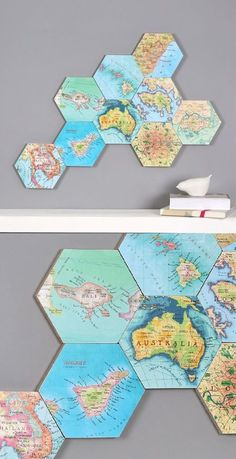 15 Clever Decorations and Crafts Using Maps This cute and creative wall decor is made from old maps. Easy to make and low-cost, it's perfect for that empty space on your wall! 15 Attractive Creative Wall Decor IdPush Pin Travel World Map Creative Wall Decor, Creative Walls, Diy Wall Decor, Travel Wall Decor, Room Decor, Diy Wand, Map Crafts, Diy And Crafts, Decor Crafts