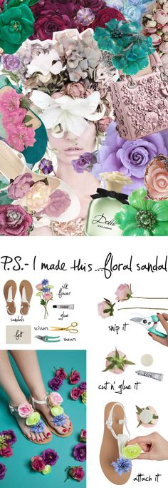 Bliss out on floral goodness with this stylish sandal upgrade that we created for Trending NY. Inspired by Charlotte Olympia's super cute Rosario Sandals, a simple row of silk flowers in an array of pastels freshens up your step and adds a sweet,...