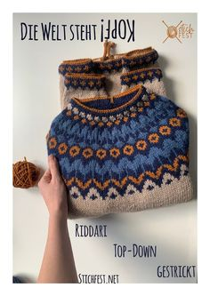 Ritter im Kopfstand Ravelry, Fair Isle Knitting Patterns, Tops, Sweaters, Blog, Crafts, Fashion, Head Stand, Book Folding