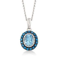 """Ross-Simons - 2.90 ct. t.w. Sky and London Blue Topaz Pendant Necklace in Sterling Silver. 18"""" - #878159"""