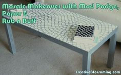 Mosaic Parsons coffee table makeover with Mod Podge, paper, and Rub n Buff in white and silver