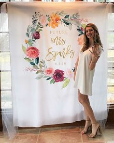 Floral Bridal Shower Photo Backdrop, Boho Bridal Shower Decorations, Future Mrs. Banner, Custom Photobooth Backdrop, Engagement Party Decor by BlushingDrops on Etsy https://www.etsy.com/listing/596795729/floral-bridal-shower-photo-backdrop-boho