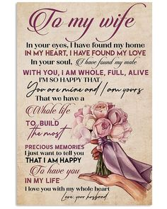 Perfect Gifts To My Husband Poster Birthday Message For Wife, Wife Birthday Quotes, Birthday Wishes For Wife, Happy Birthday Wishes Cards, Birthday Poems, Birthday Sayings, 70th Birthday, Birthday Greetings, Birthday Gifts