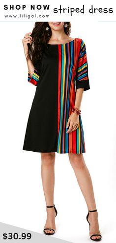 b795414dcca USD30.99 Stripe Print Half Sleeve Black Dress  liligal  dresses Tetování  Half Sleeve