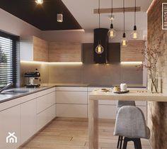 Nowoczesne wnetrze kuchni i salonu - zdjęcie od Kwadrat Design Studio Kitchen Room Design, Kitchen Cabinet Design, Modern Kitchen Design, Home Decor Kitchen, Interior Design Kitchen, Home Kitchens, Minimalist Kitchen, Cuisines Design, Beautiful Kitchens