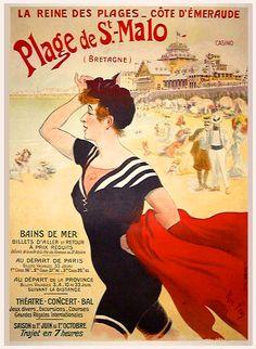 Plage de Saint-Malo - côte d'émeraude - Bretagne - France - Vintage French Posters, Vintage Travel Posters, Vintage Ads, French Vintage, Bataille De Waterloo, French Images, St Malo, Normandie France, Cool Posters