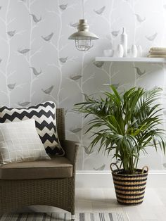 Bird print and on-trend greys creates a real statement. Combine with neutral furnishings and a splash of colour. View our full range of wallpaper on diy.com