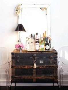 old trunk converted into a sideboard or bar