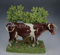 Staffordshire Cow Figurines | Staffordshire figure cow with bocage Enoch Wood Pottery by ...