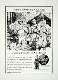 1944 Ad Coca Cola Coke New Zealand Native Army Hut World War II