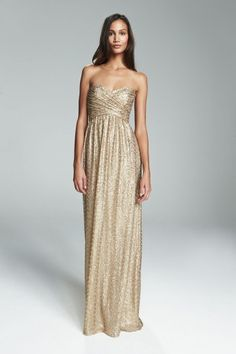 LONDON. Strapless gold sequin bridesmaid gown with ruched bodice. Available in 3 colors.