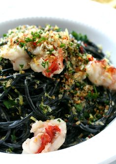 Squid Ink Pasta With Buttery Lobster - Seafood Lobster Pasta, Seafood Pasta, Seafood Recipes, Pasta Recipes, Lobster Dinner, Fish Recipes, Pasta Food, Seafood Salad, Lobster Tails