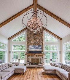 Living Room With High Ceiling #ceiling #livingroom #vaulted #decorhomeideas Simple Living Room, Home Living Room, Living Room Designs, Small Living, Modern Living, Living Room Interior, Beautiful Living Rooms, Cottage Living, Country Living