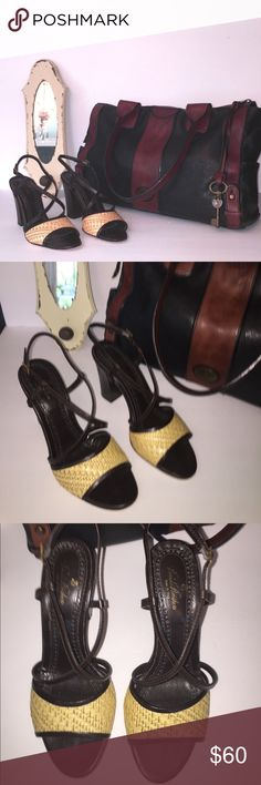 Leather Brooks Brothers strappy heels!! 4 inch genuine leather heels with ankle strap... straw embellishment... great way to fancy up a casual outfit for the summer!!! Previously owned... in good and wearable condition...please review pictures!! Brooks Brothers Shoes Platforms