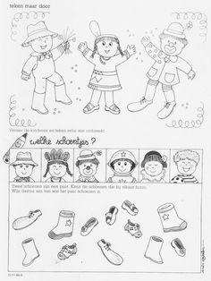 Werkblad - bij wie hoort deze schoen (deel 2) Preschool Worksheets, Preschool Activities, Visual Perception Activities, Creative Artwork, Matching Games, Educational Activities, Coloring Sheets, Kindergarten, Children