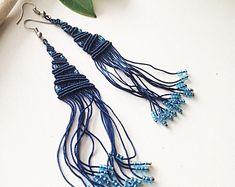Macrame earrings DIY, dark blue earrings, micromacrame earrings, macrame jewelry, long earrings, casual earrings, gift for her