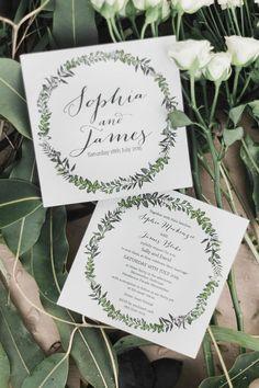 Elegant illustrated green and white wreath wedding invitation | Kaitlin Maree Photography | See more: http://theweddingplaybook.com/wedding-playbook-magazine-volume-10/