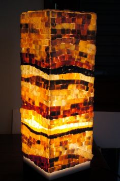 Mosaic lamp, with cristalline marble and quartz .