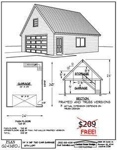 24x30 Free Garage Plan In 2020 Garage Plans Two Story Garage Garage Plan