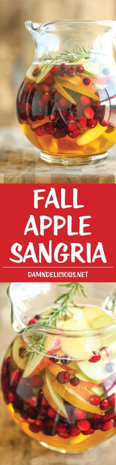 Apple Sangria - The absolute must-have sangria for Fall, Thanksgiving, and Christmas, combining apples, cranberries, wine and apple cider. A winning combo!