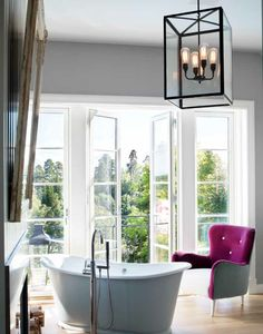 48 Ideas french door bathroom lights for 2019 Mirror Over Fireplace, Bathroom Fireplace, Modern Front Door, Front Door Decor, Bathroom Doors, Bathroom Lighting, Master Bathroom, Double Glass Doors, French Bathroom