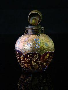 Genuine 19th Century Victorian Era Bohemian Moser Glass Perfume Bottle Mint   eBay