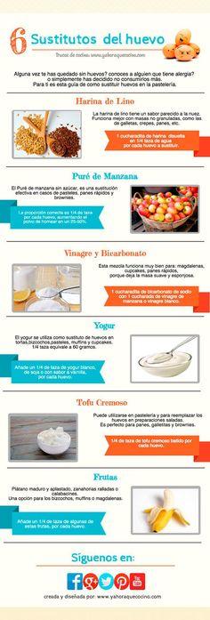 6 formas de sustituir el huevo en tus recetas de repostería. #infografía #huevos