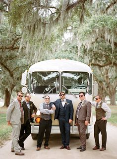 Chef Mike Lata and his groomsmen in front of a vintage bus rented for the occasion. (Photo Credit: Marni Rothschild) #SouthernWeddings