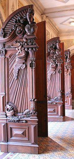 Beautiful Brazilian Doors in Rio de Janeiro Doorway, South America, Carved Door, Lion Sculpture, Windows, Statue, Woodcarving, Architecture, Gates