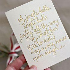 Oh Jingle Bells... Gold Foil Christmas Card | Bespoke Press