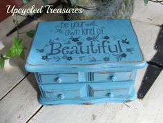 Vintage 1980's jewelry box transformed into a cute upcycled piece! Chalk painted and a great graphic added on the top  https://www.facebook.com/pages/Upcycled-Treasures/1403647943237665?ref=hl