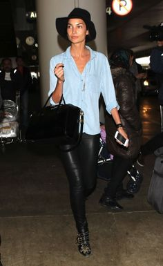AIRPORT LOOK: LILY ALDRIDGE | CHAMBRAY + LEATHER