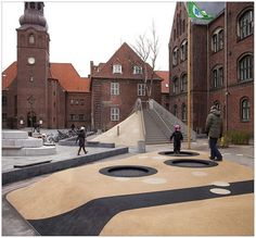 Playground at Guldberg skole. Landscape And Urbanism, Urban Landscape, Landscape Design, Urban Furniture, Street Furniture, Luxury Furniture, Urban Intervention, Playground Design, Children Playground