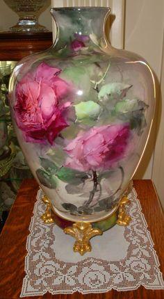 Antique Belleek Vase Hand Painted Roses, Ca. 1890's