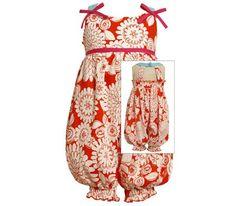 Orange Floral Party Pant (Baby) - M12241 | SundaysChild.com