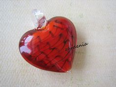1PC  Glass Pendant  Heart  Red  45x35mm by ZARDENIA on Etsy, $3.75