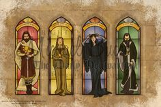 Stained-glass Deign Of The Hogwarts Founders. Gryffindor: Honoris Causa (for The…