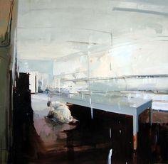 "Alex Kanevsky, Annunciation, 66"" x 66"", 2007, oil on linen"