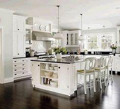 love a white kitchen with dark floors.