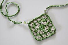 Green and Cream Granny Square Necklace