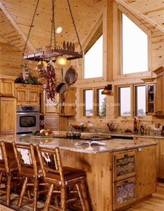 Log Home Interior design and Log home interiors photos. View a variety of possibilities for log home interior designs to plan your next log home. Contact Yellowstone Log Homes today. Log Cabin Living, Log Cabin Homes, Log Cabins, Rustic Cabins, Log Cabin Kitchens, Log Home Interiors, Log Home Decorating, Decorating Kitchen, Decorating Websites